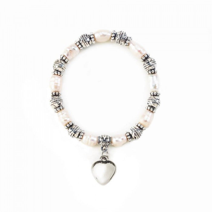 Heart Charm Pearl Stretch Bracelet - Giftspiration