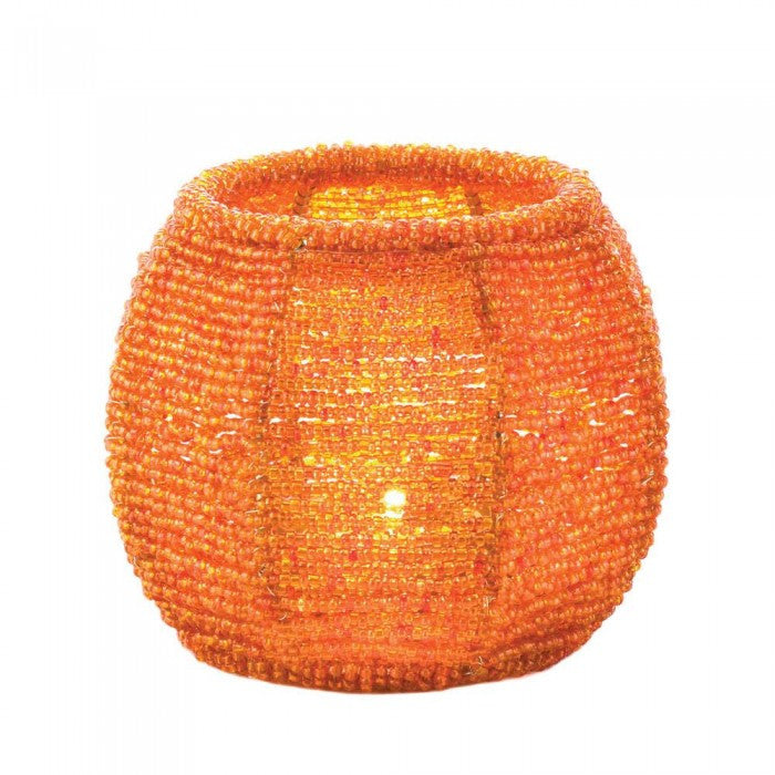 Orange Beaded Candle Holder - Giftspiration