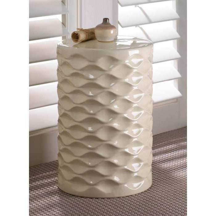 Ivory Faceted Ceramic Stool - Giftspiration