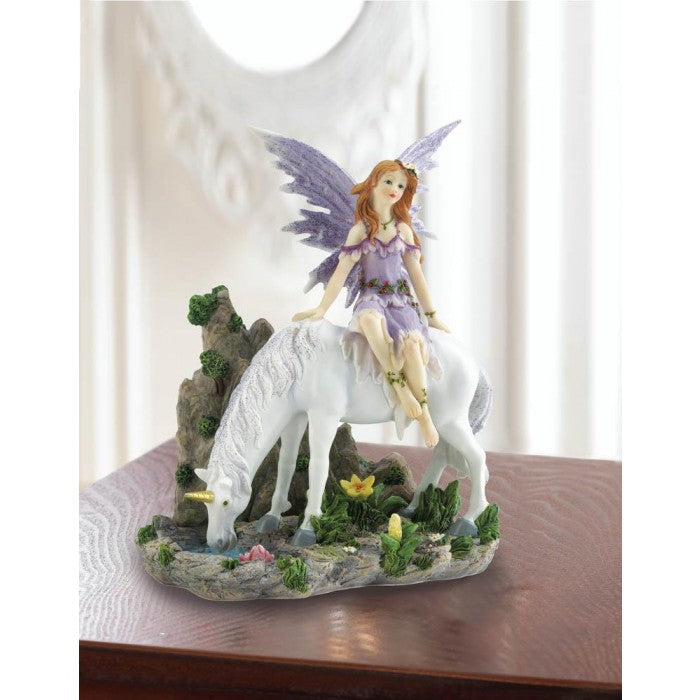 Lavender Fairy And Unicorn Figurine - Giftspiration