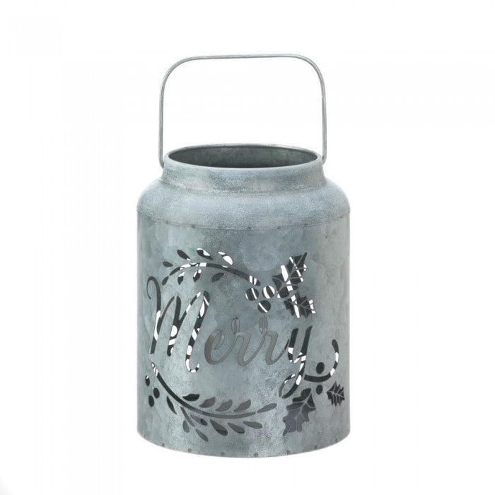 Galvanized Merry LED Candle Lantern - Giftspiration