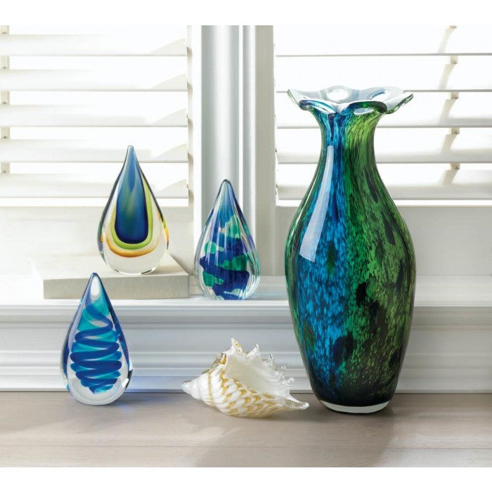 Peacock Bloom Art Glass Vase - Giftspiration