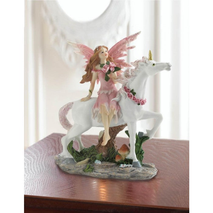 Pink Fairy With Unicorn Figurine - Giftspiration
