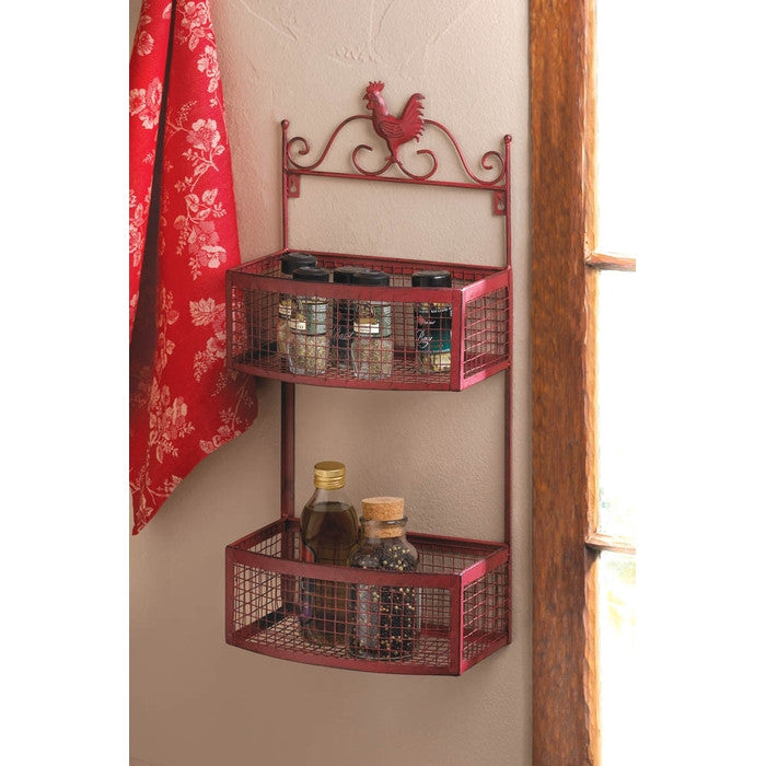 Red Rooster Double Wall Rack - Giftspiration