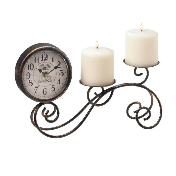 Scrollwork Table Clock & Candle Holder - Giftspiration