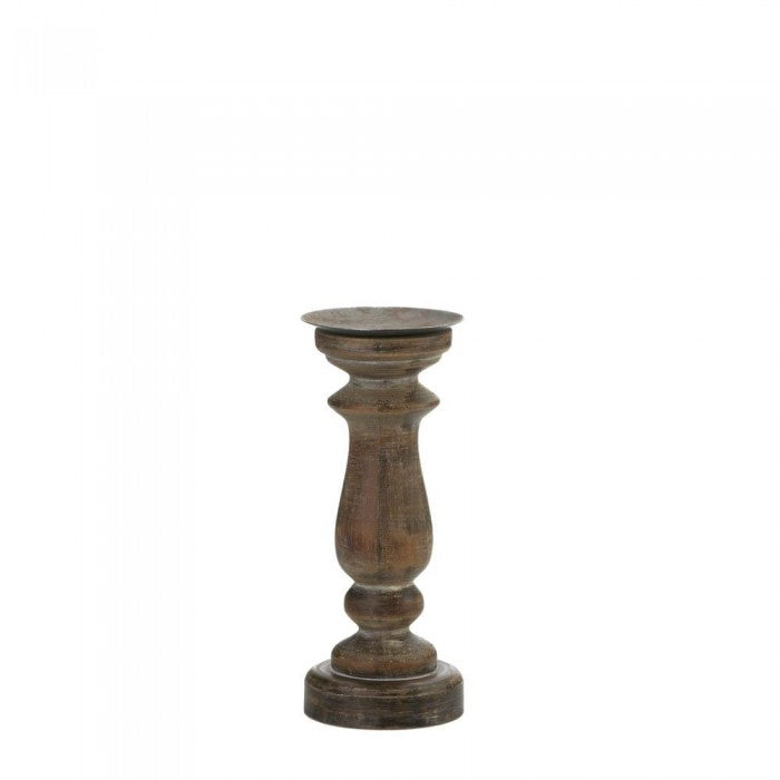 Short Antique-Style Wooden Candle Holder - Giftspiration