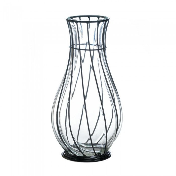 Short Glass And Metal Vase - Giftspiration