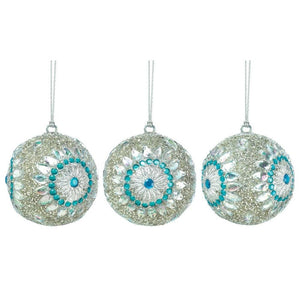 Silver Beaded Ball Ornament Trio - Giftspiration