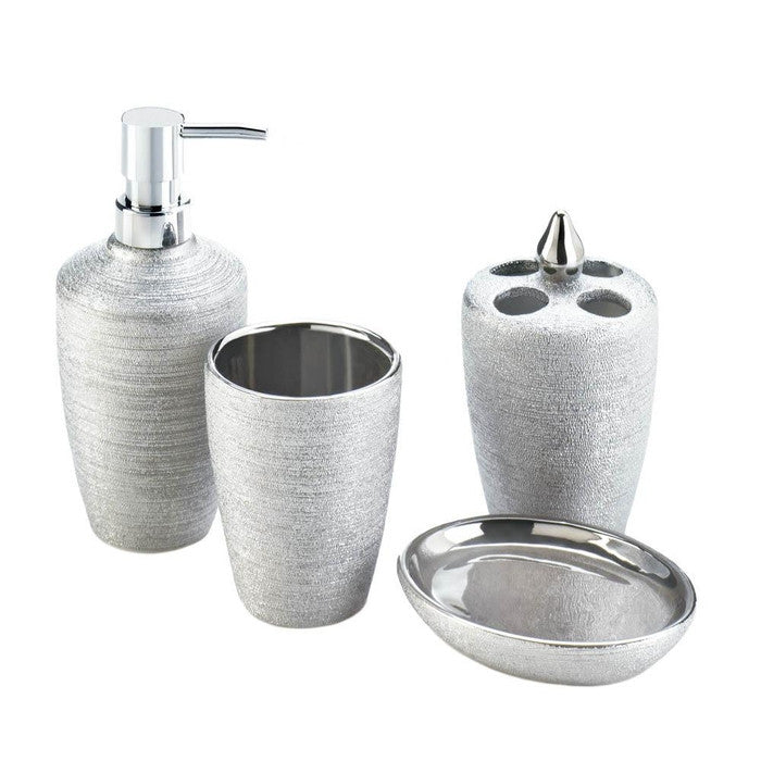 Silver Shimmer Bath Accessory Set - Giftspiration