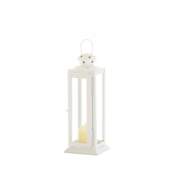 Small Cutout Stars White Lantern - Giftspiration