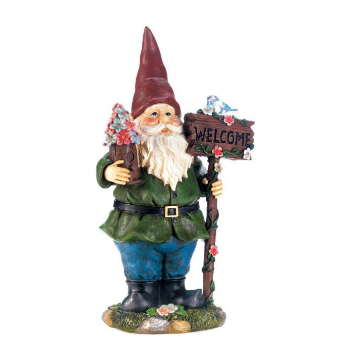 Solar Bluebird Welcome Gnome Statue - Giftspiration