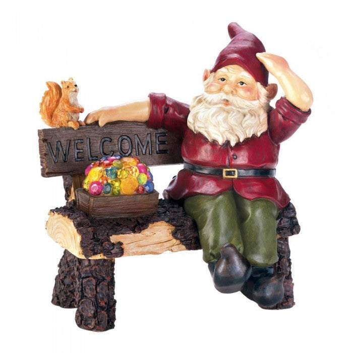 Solar Gnome On Welcome Bench - Giftspiration