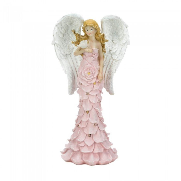 Solar Powered Pink Rose Angel Statue - Giftspiration