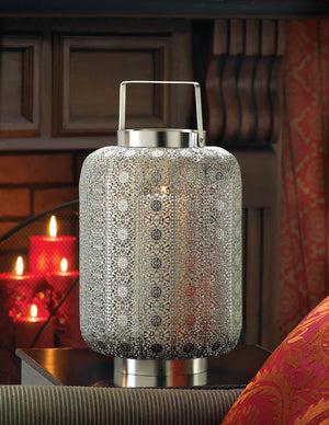 Tall Silver Lace Design Candle Lamp - Giftspiration
