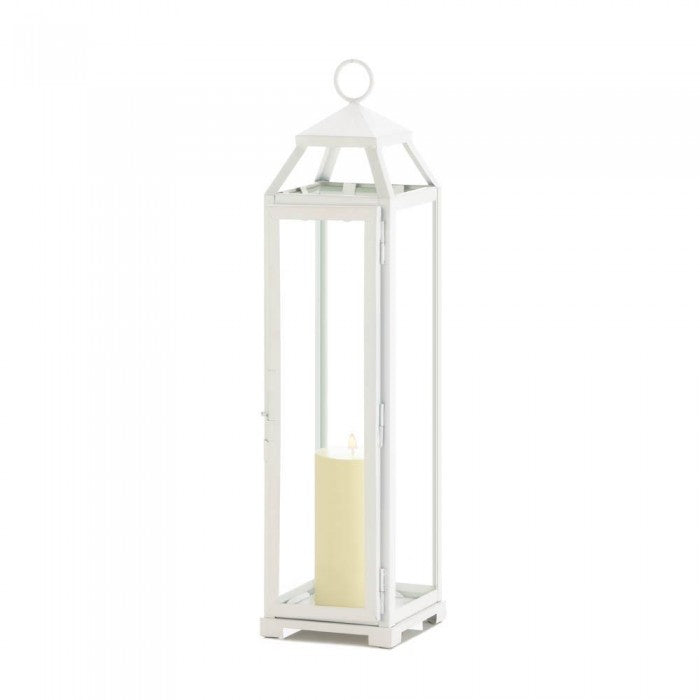 Tall Country White Open Top Lantern - Giftspiration
