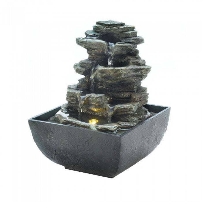 Tiered Rock Formation Tabletop Fountain - Giftspiration