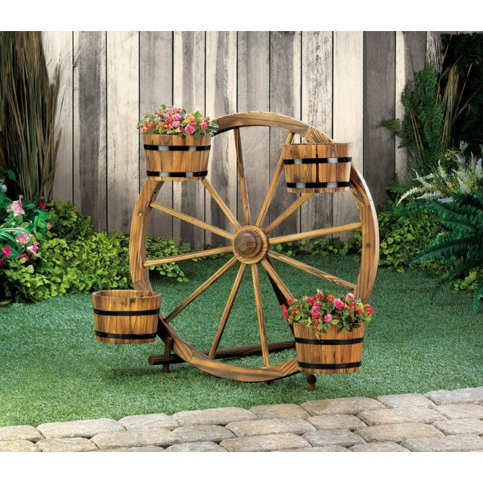 Wagon Wheel Barrel Planter Display - Giftspiration