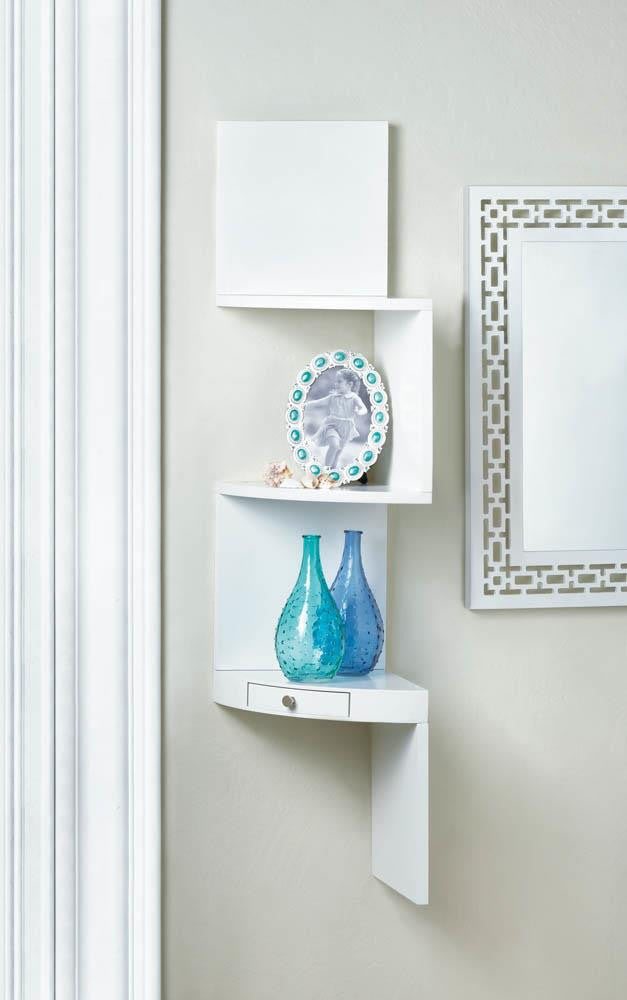 White Corner Shelves With Drawer - Giftspiration