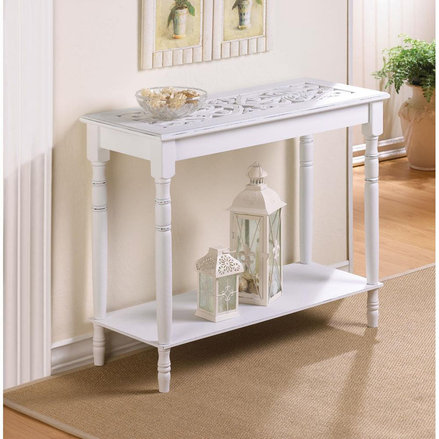 White Wood Carved Table - Giftspiration
