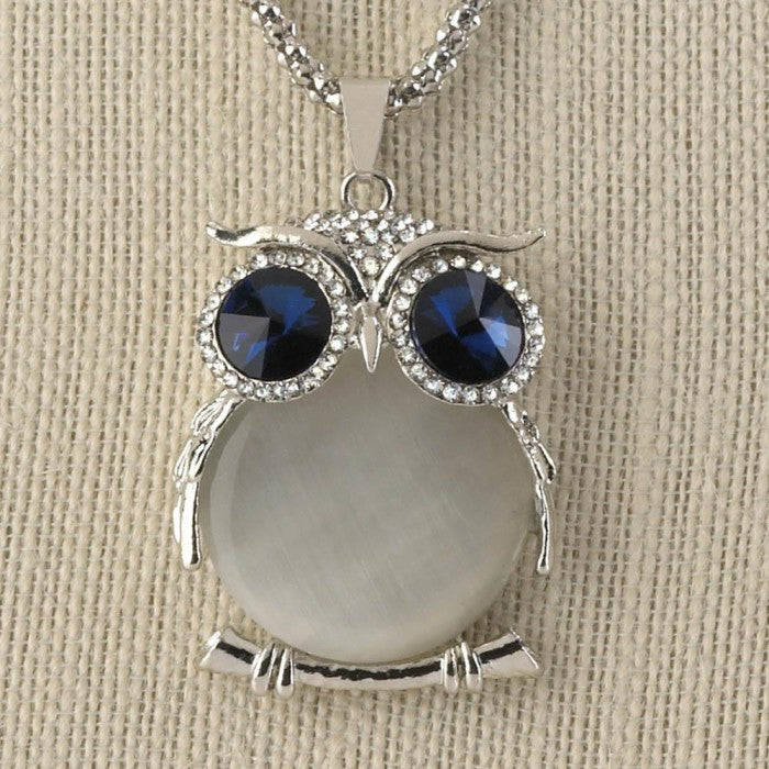 White Crystal Owl Necklace - Giftspiration