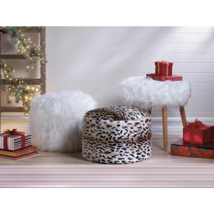 White Faux Fur Stool - Giftspiration