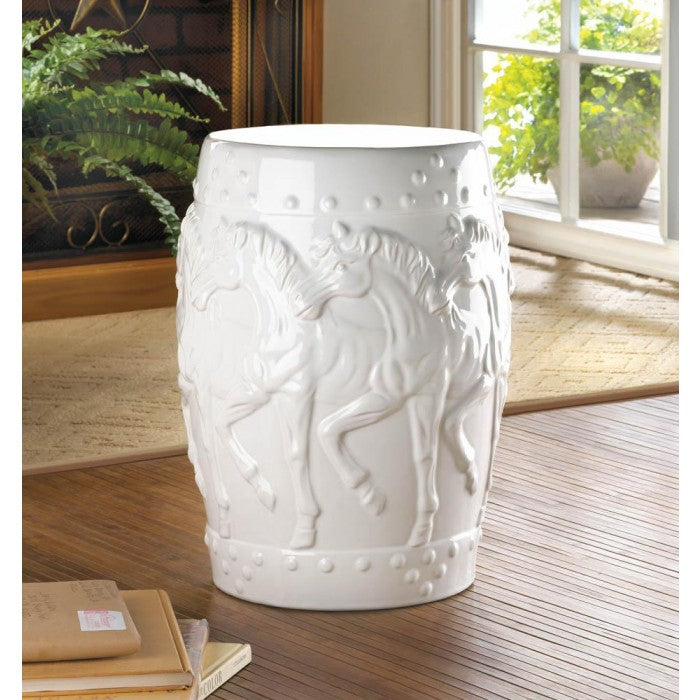 White Horses Ceramic Stool - Giftspiration