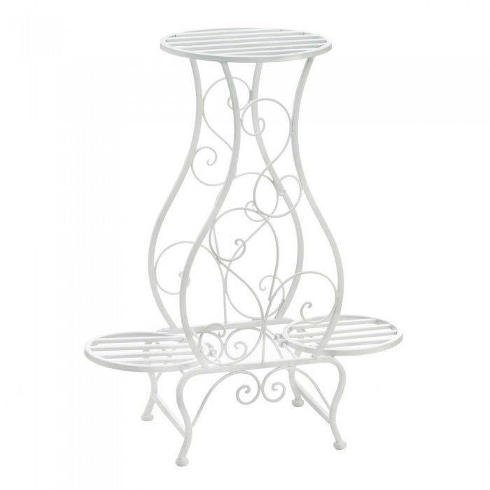 White Hourglass Triple Plant Stand - Giftspiration