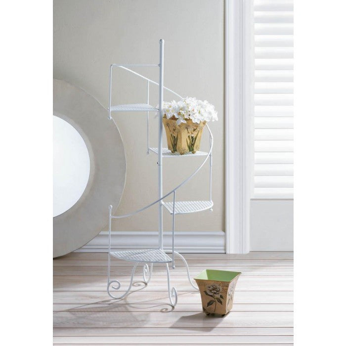 White Spiral Showcase Plant Stand - Giftspiration