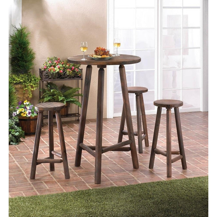 Fir Wood Bar Table & Stools Set - Giftspiration