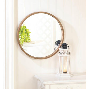 Wood Frame Round Wall Mirror - Giftspiration