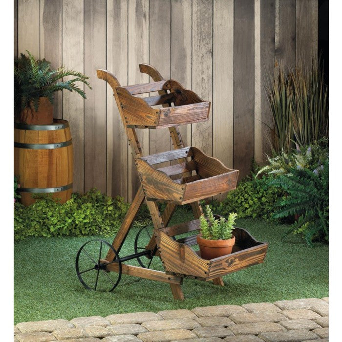 Wooden 3-Tier Plant Cart Stand - Giftspiration