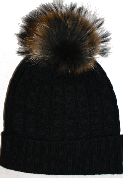 Fur Trimmed Cable-Knit Beanie