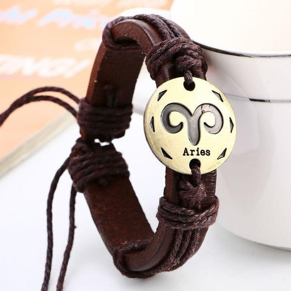 Leather Zodiac COURAGE Bracelet - Style 1