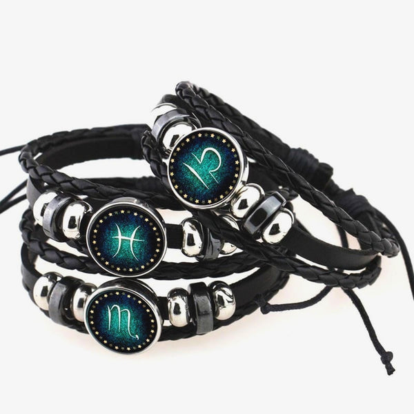 Leather Zodiac Symbol PROTECTION Bracelet
