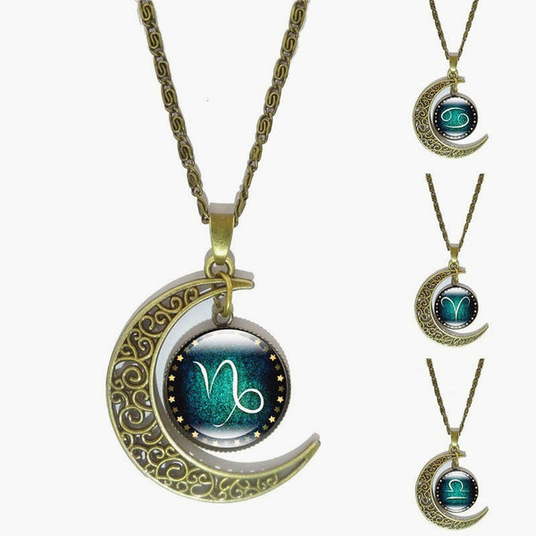 Moon-Shaped Zodiac Symbol PROTECTION Necklace - Bronze - Zody Nation