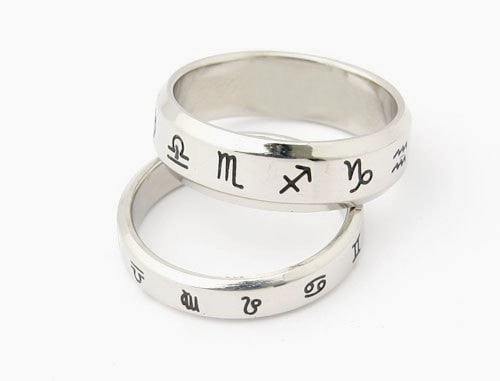 Zodiac Symbol Silver PROTECTION Ring