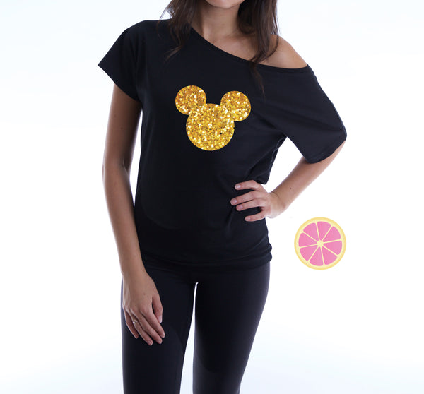 Mickey off shoulder T-shirt. Disney shirt. Boat neck t-shirt made by Pink Leomonade apparel