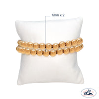 Set of Two 7mm seamless gold filled beaded bracelet