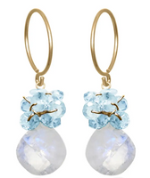 Moonstone and Topaz Wildflower Earring