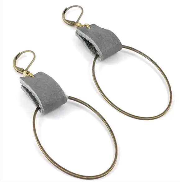 Grey Leather and Brass Earrings