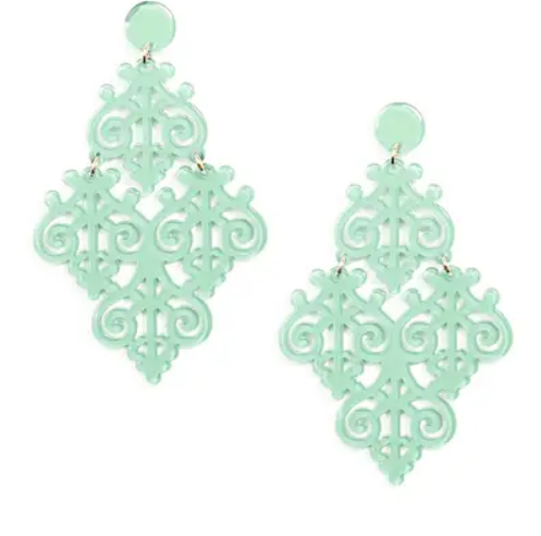 Resin Acrylic Emblem Statement Earring