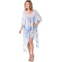 White and Blue Swimsuit Cover Up for Women
