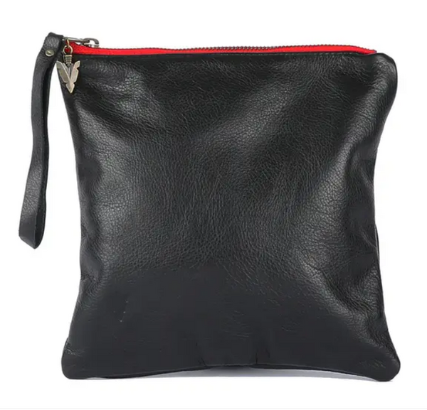 Black Leather Clutch - Medium
