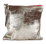 Silver Distressed Leather Clutch - Medium