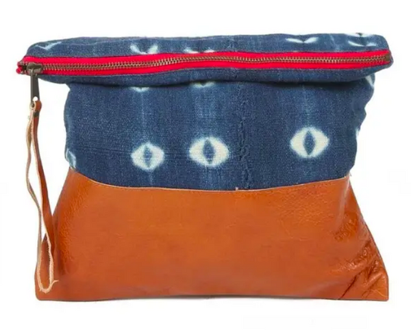 Indigo Clutch, Brown Leather - Large, One of a Kind