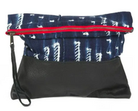 Indigo Clutch, Black Leather - Large, One of a Kind