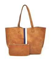 Tan Tote With Black and White Stripes
