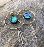 Circle Hoops with Abalone and Drops