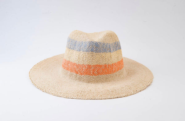 Lighter Color Stripe Straw Hat- Miami Stripe