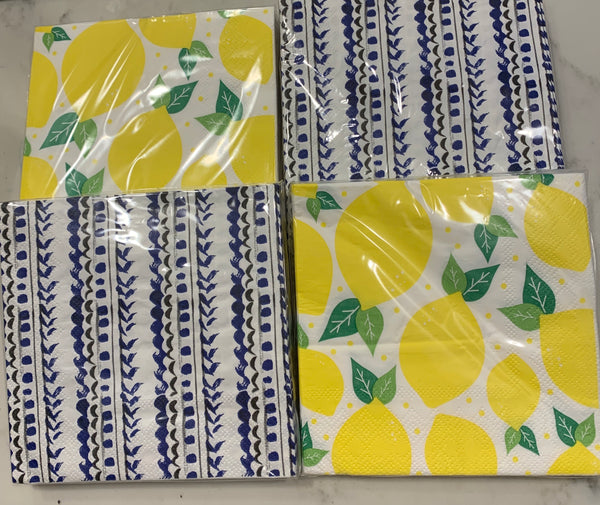 Lemon & Blue Set of 4 Paper Napkins